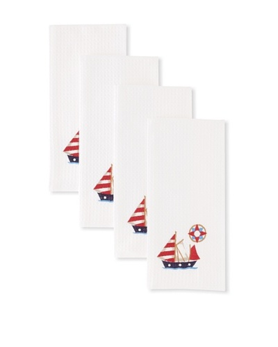 Set of 4 Sailboat Kitchen Towels, White, 18 x 27