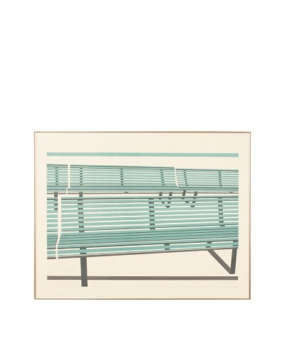 Abstract Benches Framed Artwork, Turquoise/Navy/White