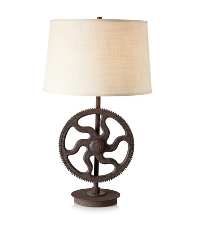 Industrial Gear Table Lamp, Poly Dark Rush, Large