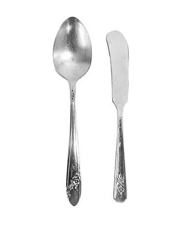 Vintage English Silver Butter & Sugar Serving Set, c.1940s