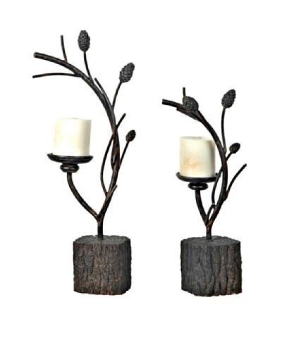 Pine Branch Candleholder Set