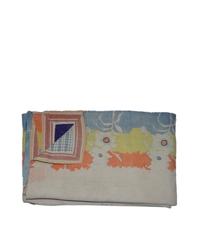 Large Vintage Karishma Kantha Throw, Multi, 60 x 90