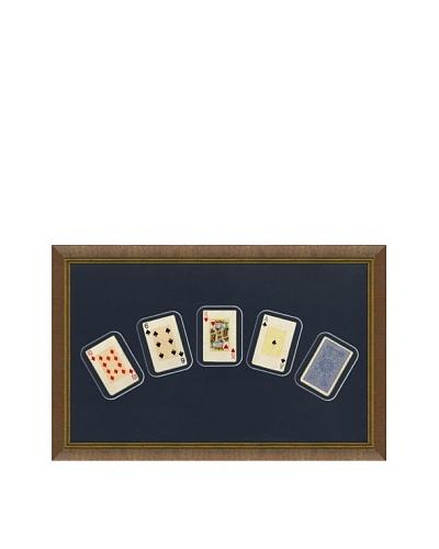 Framed Set of 5 Antique Playing Cards