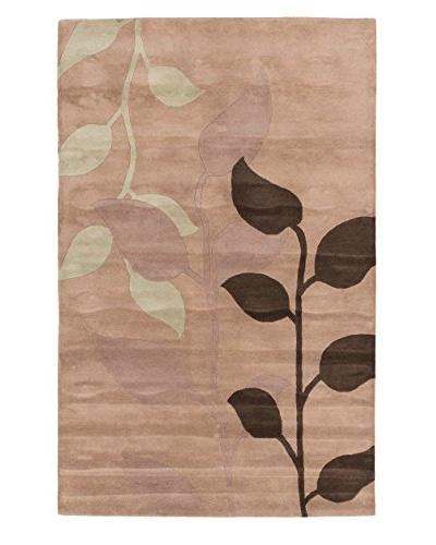 Handmade Leaf Rug, Beige, 5' x 8'