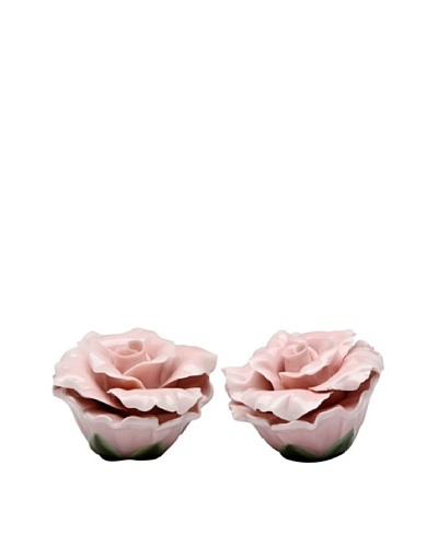 Porcelain Pink Rose Salt & Pepper Shaker Set