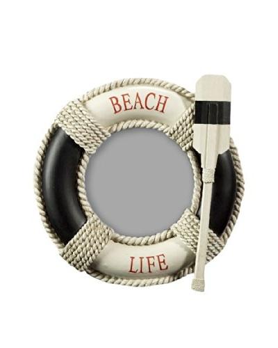 Beach Life Round Photo Frame, Cream/Black