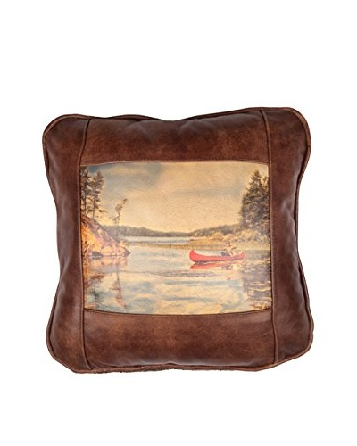 Where's Grampa? Leather Pillow, Brown