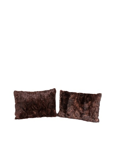 Pair of Upcycled Mink Pillows, Brown, 18 x 18