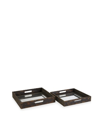 Set of 2 Corbin Mirrored Trays