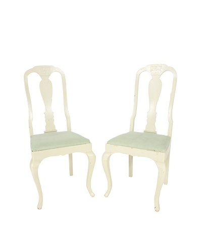 Pair of French Side Chairs, White/Green