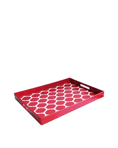 Garden Lattice Rectangle Tray with Handles, Red