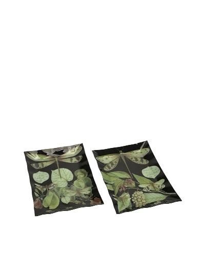 Set of 2 Midnight Dragonfly Botanical Platters