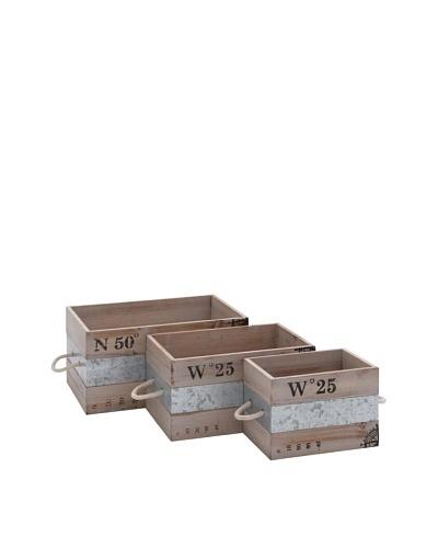 Set of 3 Wooden & Metal Crates