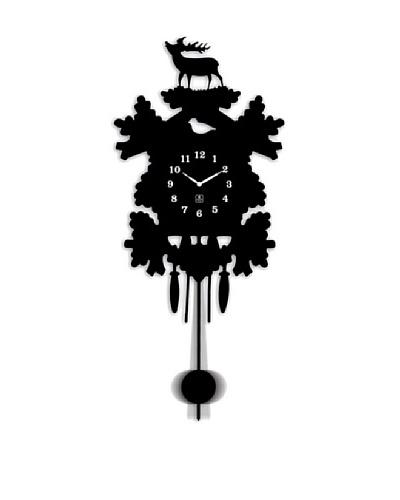 Metal Pendulum Wall Clock In Black, 11.5 x 26