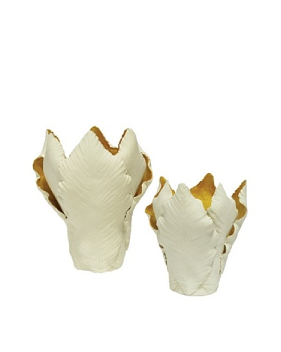 Set of 2 Ceramic Leaf Candle Holders