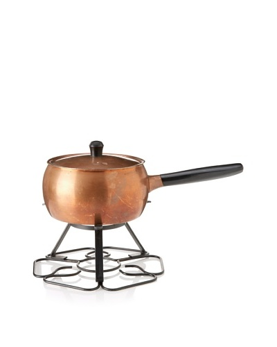 Vintage Copper Fondue Pot with Cover c. 1950s