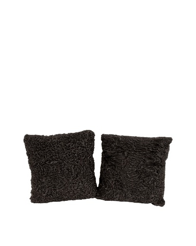 """Pair of Upcycled Lambswool Pillows, Black, 18"""" x 18"""""""