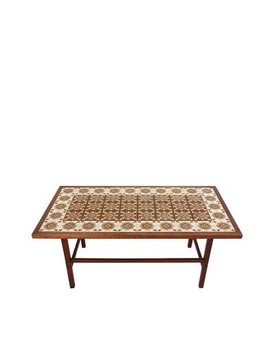 Moroccan Tile Coffee Table, Brown/White/Yellow/Black