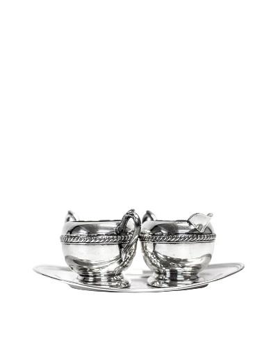 Vintage Silver 3-Piece Sugar & Creamer Set with Tray, c.1950s