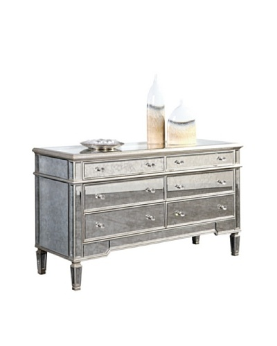 Florentine 6-Drawer Dresser, Silver Leaf/Antique Mirror