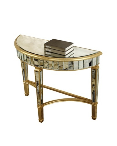 Florentine Half Moon Table, Gold Leaf/Antique Mirror