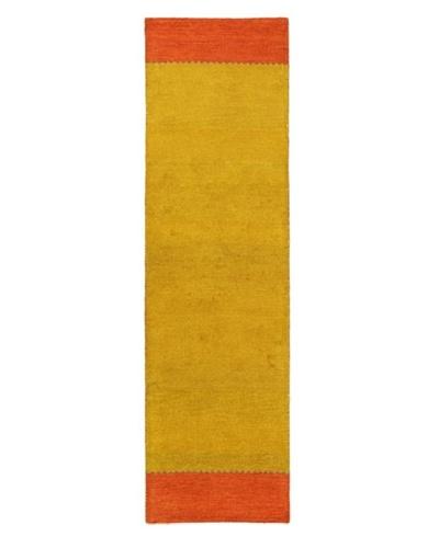 Hand-Knotted Gabbeh Modern Rug, Mustard, 2' 9 x 9' 1 Runner