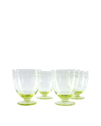 Set of 4 Etched Glasses, Yellow