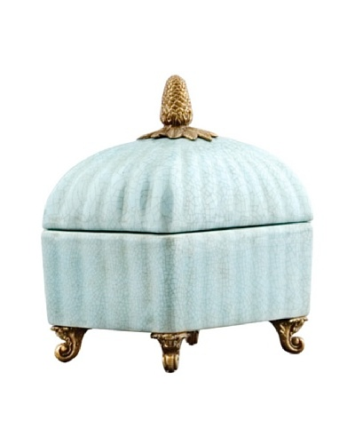 Handpainted Porcelain Collection Box, Soft Blue CrackleAs You See