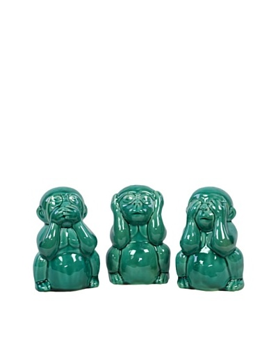 Set of 3 Ceramic Monkeys, Turquoise
