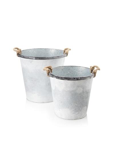 Set of 2 Round Bucket Planters