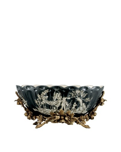 Black Toile Handpainted Basin with Bronze Base