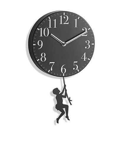"Boy Swinging Metal Pendulum Wall Clock, 10"""