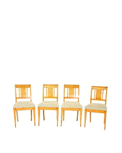 Set of 4 Mid-Century Modern Birch Chairs, Tan/Green/Grey