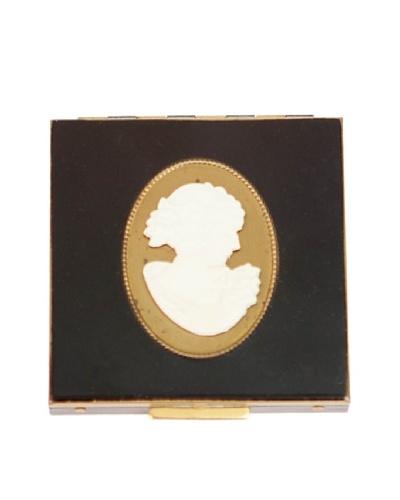 Vintage Blackcompact with Powder Puff/Mirror, Black/Cream/Gold