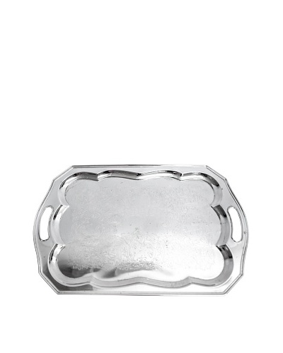 Vintage Ruffled Rectangular Silver Serving Tray, c.1940s