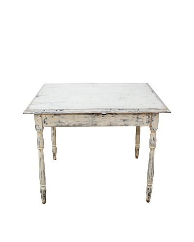 Vintage Distressed Painted Wood Square Table, c.1950s