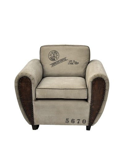Ansel Distressed Armchair, Tan/Brown