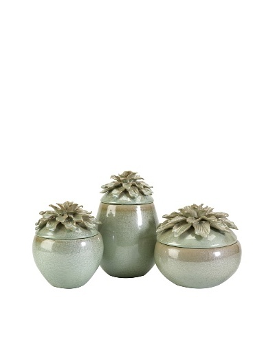 Set of 3 Tilly Floral Lidded Vases