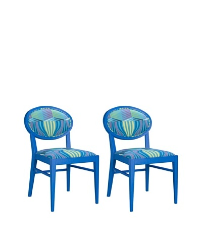 Set of 2 Armless Dining Chairs, Blue