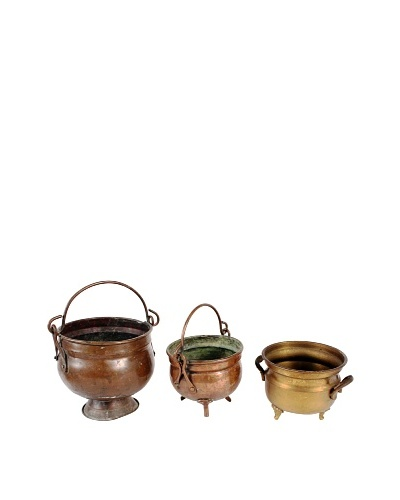 Vintage Set of 3 Copper and Brass Pots