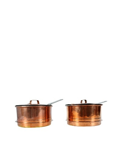 Pair of Vintage Swedish Copper Pots with Lids, Metallic
