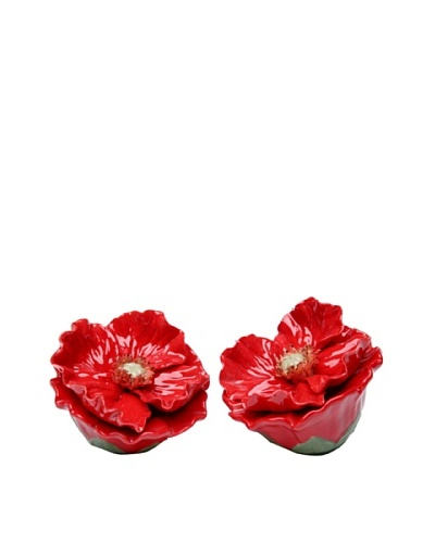 Porcelain Red Poppy Salt & Pepper Shaker Set