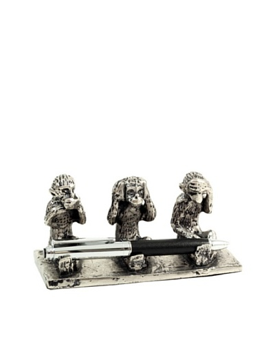 Speak, Hear & See No Evil Pen Stand, SilverAs You See