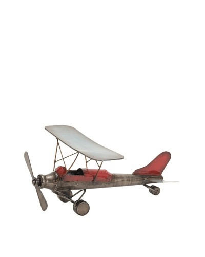 Rustic Stationary Model Plane with Red Accents