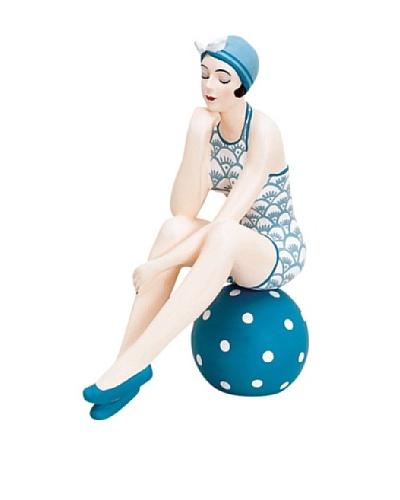 Large Beach Beauty in Blue Swimsuit on Polka Dot Ball
