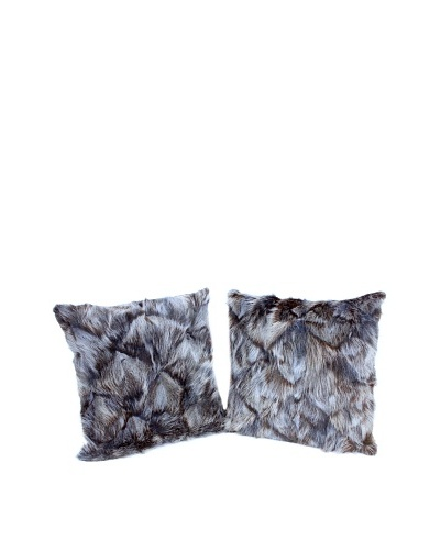 """Pair of Upcycled Blue Fox Pillows, Blue/Black, 18"""" x 18"""""""