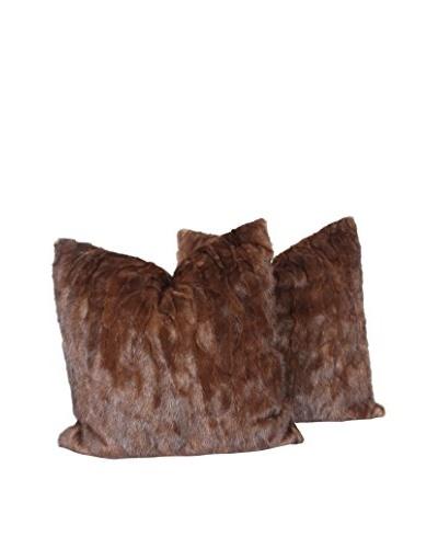 Set of 2 Mink Chocolate Stripe Pillows, Brown, 20 x 20