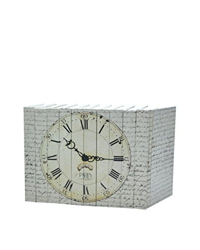 Set of 10 Image Collection Paris Clock Books, Cream/Black