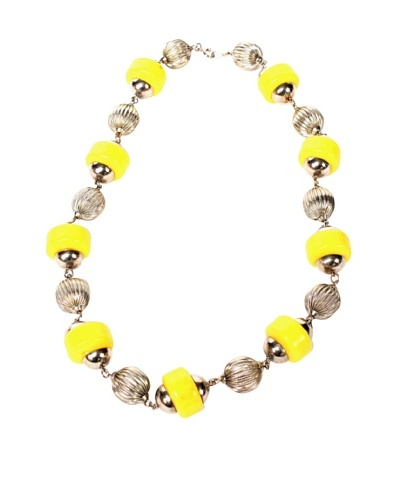 Bakelite Silver Tone Necklace, Silver/Yellow