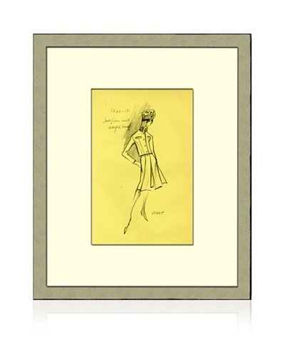 Print of Venet Women's Fashion Sketch Circa 1968